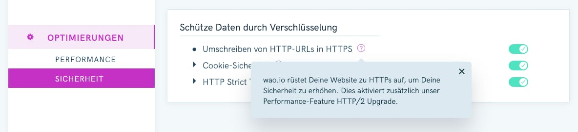 Screenshot vom wao.io Admin-Panel mit Option für HTTP/2